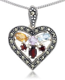 "Multi-Color Stones & Marcasite Heart Pendant on 18"" Chain in Sterling Silver"