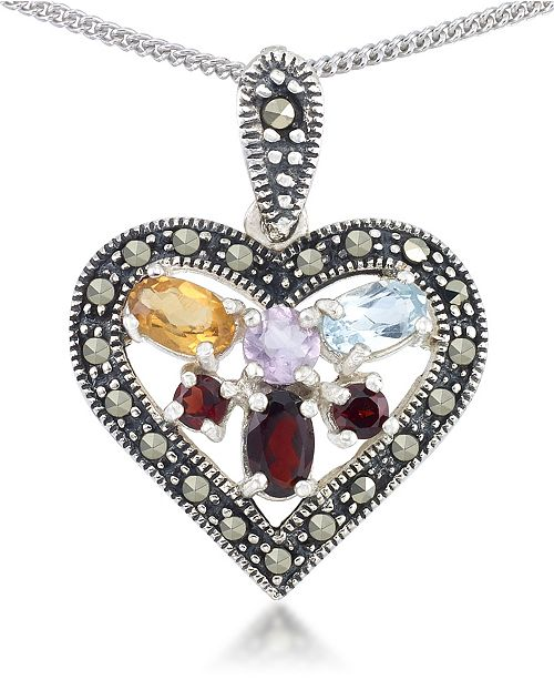 """Macy's Multi-Color Stones & Marcasite Heart Pendant on 18"""" Chain in Sterling Silver"""