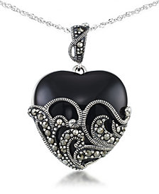 "Onyx (24 X 24mm) & Marcasite Heart Pendant on 18"" Chain in Sterling Silver"