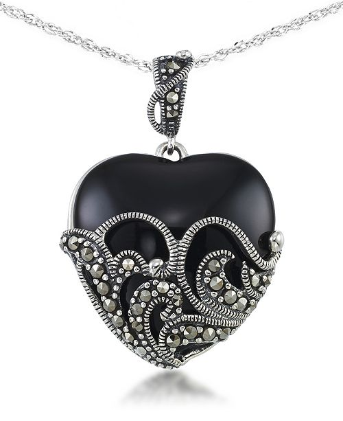 """Macy's Onyx (24 X 24mm) & Marcasite Heart Pendant on 18"""" Chain in Sterling Silver"""