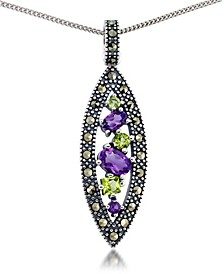 "Amethyst (3/4 ct. t.w.) & Peridot Marcasite Pendant on 18"" Chain in Sterling Silver"