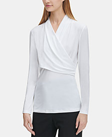 DKNY Ruched Crossover Top, Created for Macy's