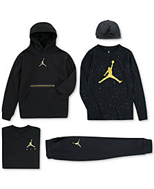 Jordan Big Boys 23 Cap, Metal Man Hoodie, Graphic-Print T-Shirts & Jogger Pants