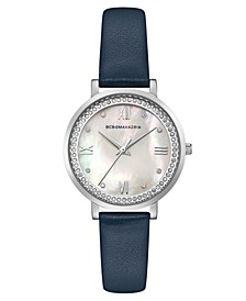 Ladies Blue Leather Strap Watch with Light MOP Dial, 33mm