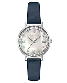 BCBG MaxAzria Ladies Blue Leather Strap Watch with Light MOP Dial, 33MM