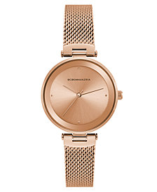 BCBG MaxAzria Ladies Rose Gold Tone Mesh Bracelet Watch with Rose Gold Dial, 33MM