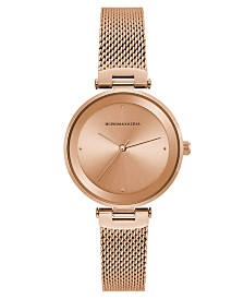 BCBGMAXAZRIA Ladies Rose Gold Tone Mesh Bracelet Watch with Rose Gold Dial, 33mm