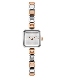 Ladies Two Tone Rose Gold Bracelet Watch with Silver Square Dial, 20mm
