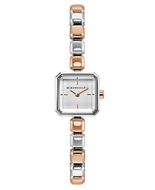 BCBGMAXAZRIA Ladies Two Tone Rose Gold Bracelet Watch with Silver Square Dial, 20mm