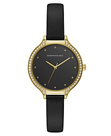 Ladies Black Leather Strap Watch with Black Dial and Gold Case, 34mm