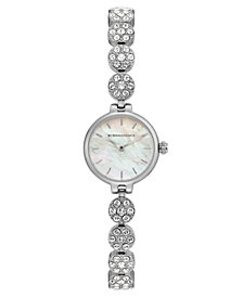 BCBG MaxAzria Ladies Silver Crystal Bracelet with MOP Dial, 22MM