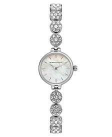 BCBGMAXAZRIA Ladies Silver Crystal Bracelet with MOP Dial, 22mm