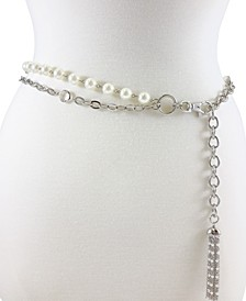 Accessories 2 Row Pearl & Stone Chain