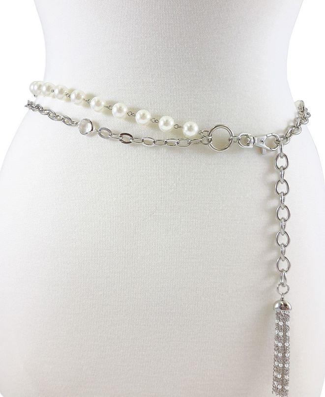Fashion Focus Accessories 2 Row Pearl & Stone Chain