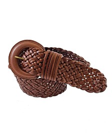Fashion Focus Accessories Wide Braided Leather Belt