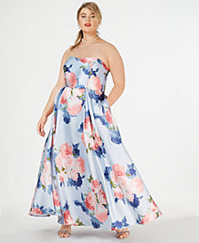 Speechless Trendy Plus Size Strapless Floral-Print Gown