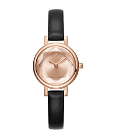 RumbaTime Venice Black Leather Women's Watch Rose Gold