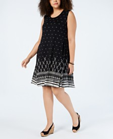 Style & Co Plus Size Crewneck Sleeveless Swing Dresses, Created for Macy's