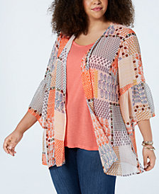 Style & Co Plus Size Printed Kimono, Created for Macy's