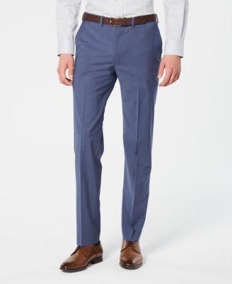 Men's Modern-Fit Stretch Blue Mini-Check Suit Pants