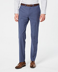 Men's Modern-Fit Stretch Blue Mini-Check Suit Pants