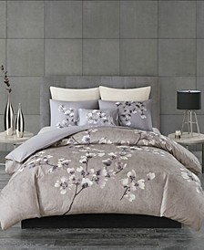 Sakura Blossom Full/Queen 3 Piece Cotton Sateen Printed Duvet Cover Set