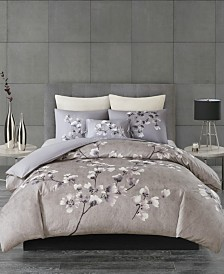 N Natori Sakura Blossom King 3 Piece Cotton Sateen Printed Comforter Set