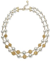 ec77965f2 Charter Club Gold-Tone Lattice Ball   Imitation Pearl Double-Row Necklace