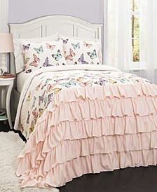 Flutter Butterfly 3-Piece Full/Queen Quilt Set