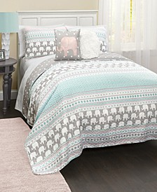 Elephant Stripe 5-Pc Set Full/Queen Quilt Set