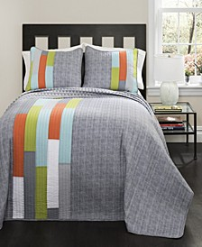 Shelly Stripe  3-Pc Set Full/Queen Quilt Set