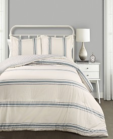 Farmhouse Stripe 3-Pc Set Full/Queen Comforter Set