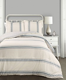 Farmhouse Stripe Reversible 3-Piece King Comforter Set