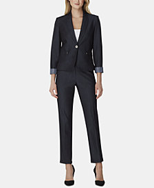Tahari ASL Striped-Cuff Pant Suit