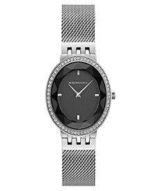 Ladies Silver Tone Mesh Bracelet Watch with Black Dial, 35mm