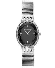 BCBGMAXAZRIA Ladies Silver Tone Mesh Bracelet Watch with Black Dial, 35mm