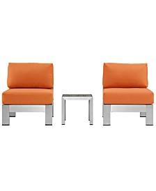 Modway Shore 3 Piece Outdoor Patio Aluminum Sectional Sofa Set Orange