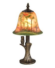 Dale Tiffany Hand Painted With Owl Accent Lamp