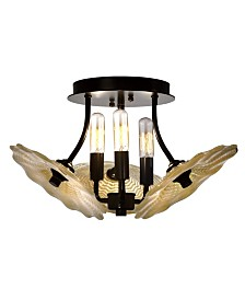 "Dale Tiffany Beige Feather 16""W 3-Light Hand Blown Art Glass Semi Flush Mount"
