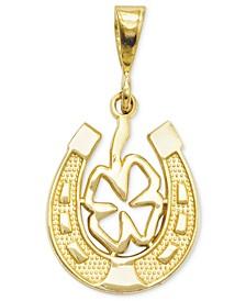 14k Gold Charm, Four Leaf Clover and Horseshoe Charm