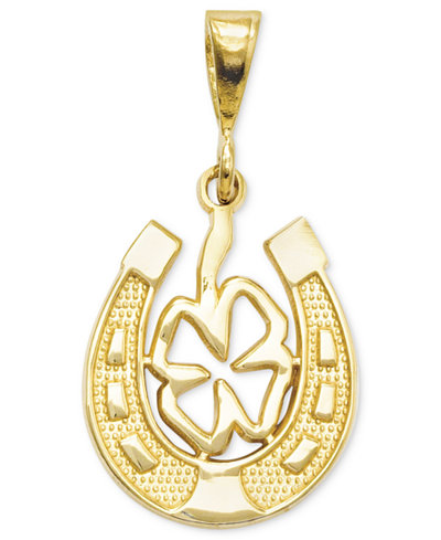 14k Gold Charm, Four Leaf Clover and Horseshoe Charm