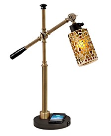 Knighton Mosaic Desk Lamp With Wireless, Usb Charger