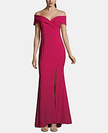 Xscape Petite Off-The-Shoulder Crepe Gown
