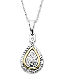 14k Gold and Sterling Silver Necklace, Diamond Accent Teardrop Pendant