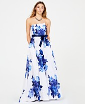 b4319a6d54c Teeze Me Juniors  Belted Floral-Print Strapless Gown