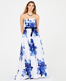 Teeze Me Juniors' Belted Floral-Print Strapless Gown
