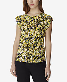 Tahari ASL Pleated Printed Top