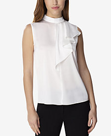 Tahari ASL Ruffled Stand-Collar Top, Regular & Petite