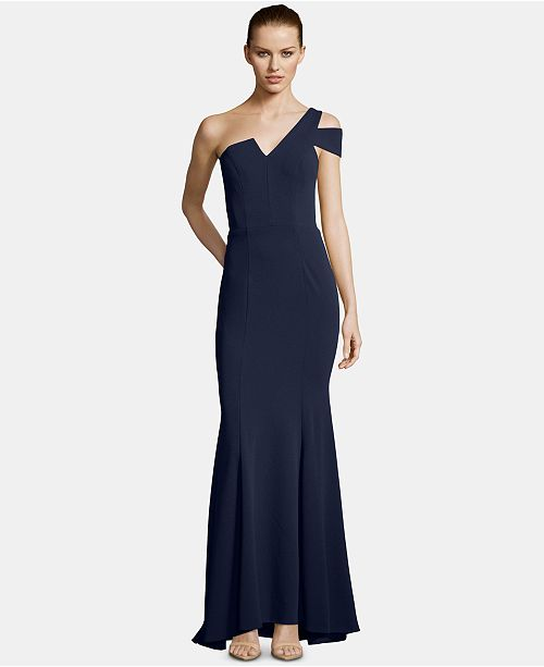 Betsy & Adam Petite One-Shoulder Mermaid Gown