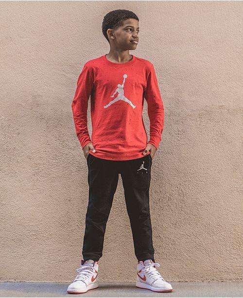 Jordan Big Boys Speckled Jumpman Graphic Cotton T-Shirt